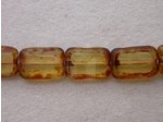 Czech Glass Table Cut Rectangle Bead 12x8mm, Amber (Pkg of 300 Pieces)