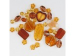 Czech Pressed Glass Bead Mix, Amber, Approx 37 Beads