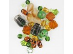 Czech Pressed Glass Bead Mix, Earthtone, Approx 34 Beads