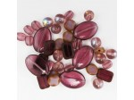 Czech Pressed Glass Bead Mix, Cabernet, Approx 38 Beads