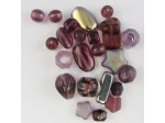 Czech Pressed Glass Bead Mix, Amethyst, Approx 25 Beads