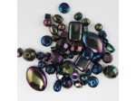 Czech Pressed Glass Bead Mix, Metallic Mirror, Approx 50 Beads