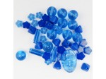 Czech Pressed Glass Bead Mix, Blue Man, Approx 44 Beads