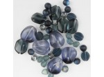 Czech Pressed Glass Bead Mix, Black Marble, Approx 40 Beads