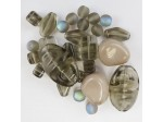 Czech Pressed Glass Bead Mix, Gray Wolf, Approx 29 Beads