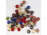 Czech Pressed Glass Bead Mix, Jewel Tone, Approx 50 Beads