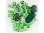 Czech Pressed Glass Bead Mix, Peridot, Approx 40 Beads