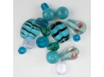 Czech Pressed Glass Bead Mix, Turquoise, Approx 16 Beads