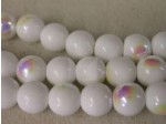 Czech Pressed Glass Smooth Round Druk Bead 10mm, Opaque White AB Coated (Pkg of 300 Pieces)