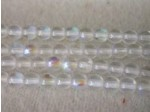Czech Pressed Glass Smooth Round Druk Bead 4mm, Clear AB Coated, (Pkg of 600 Pieces)