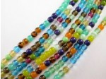"Czech Pressed Glass Round Druk Ice Bead 4mm, Multi Mix, 7"" Strand"