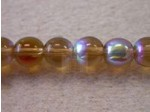 Czech Pressed Glass Smooth Round Druk Bead 6mm, Smoked Topaz AB Coated (Pkg of 300 Pieces)