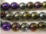 Czech Pressed Glass Smooth Round Druk Bead 6mm, Brown Iris (Pkg of 300 Pieces)