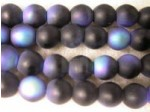 Czech Pressed Glass Smooth Round Druk Bead 6mm, Jet Black Matte AB Coated (Pkg of 300 Pieces)
