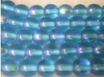 Czech Pressed Glass Smooth Round Druk Bead 6mm, Aqua AB Coated (Pkg of 300 Pieces)