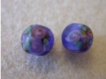 Glass Flower Lampwork Bead 6mm, Blue Matte