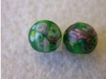 Glass Flower Lampwork Bead 6mm, Green Matte