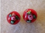 Glass Flower Lampwork Bead 8mm, Red