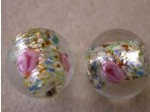Czech Glass Foil Flower Lampwork Bead 12mm, Crystal