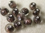 Czech Glass Lampwork Glitter Bead 6mm, Jet Black In Clear