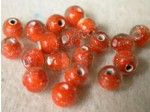 Czech Glass Lampwork Glitter Bead 6mm, Hyacinth In Clear