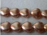 Czech Glass Heart Pearl Bead 8mm, Copper (Pkg of 300 Pieces)