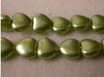 Czech Glass Heart Pearl Bead 8mm, Lime Green (Pkg of 300 Pieces)