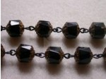 Czech Linked Rosary Chain, 8mm Jet Faceted Beads, Antique Black Linked Chain, (Sold by the Meter)