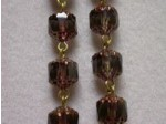 Czech Linked Rosary Chain, 8mm Black Diamond Faceted Beads, Antique Gold Linked Chain, (Sold by the Meter)