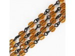 Czech Linked Rosary Chain, 4mm Amber Faceted Beads, Black Linked Chain, (Sold by the Meter)