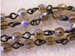 Czech Linked Rosary Chain, 4mm Smoked Topaz AB Faceted Beads, Black Linked Chain, (Sold by the Meter)