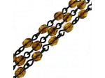 Czech Linked Rosary Chain, 4mm Tortoise Faceted Beads, Black Linked Chain, (Sold by the Meter)
