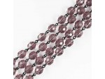 Czech Linked Rosary Chain, 4mm Light Amethyst Beads, Black Linked Chain, (Sold by the Meter)