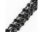Czech Linked Rosary Chain, 4mm Jet Fire Polished 4mm Beads, Black Linked Chain, (Sold by the Meter)