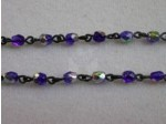 Czech Linked Rosary Chain, 4mm Cobalt Vitrail Fire Polished Beads, Black Linked Chain, (Sold by the Meter)