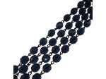 Czech Linked Rosary Chain, 4mm Montana Fire Polished Beads, Black Linked Chain, (Sold by the Meter)