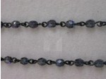 Czech Linked Rosary Chain, 4mm Montana AB Fire Polished Beads, Black Linked Chain, (Sold by the Meter)