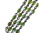 Czech Linked Rosary Chain, 4mm Olivine AB Faceted Beads, Black Linked Chain, (Sold by the Meter)