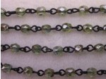 Czech Linked Rosary Chain, 4mm Lumi Green Faceted Beads, Black Linked Chain, (Sold by the Meter)