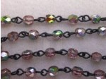 Czech Linked Rosary Chain, 4mm Rose Vitrail Faceted Beads, Black Linked Chain, (Sold by the Meter)