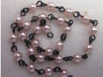 Czech Linked Rosary Chain, 4mm Pink Pearls, Black Linked Chain, (Sold by the Meter)