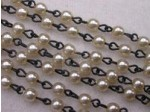 Czech Linked Rosary Chain, 4mm Cream Pearls, Black Linked Chain, (Sold by the Meter)