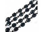 Czech Linked Rosary Chain, 6mm Montana Faceted Beads, Black Linked Chain, (Sold by the Meter)