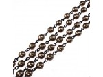 Czech Linked Rosary Chain, 6mm Mocha Pearls, Black Linked Chain, (Sold by the Meter)