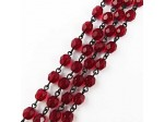 Czech Linked Rosary Chain, 6mm Garnet Beads, Black Linked Chain, (Sold by the Meter)