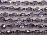 Czech Linked Rosary Chain, 6mm Mirror Tanzanite Fire Polished Beads, Black Linked Chain, (Sold by the Meter)