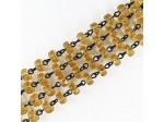 Czech Linked Rosary Chain, 6mm Light Amber Rondel Beads, Black Linked Chain, (Sold by the Meter)
