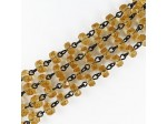 Czech Linked Rosary Chain, 6mm Amber Rondel Beads, Black Linked Chain, (Sold by the Meter)