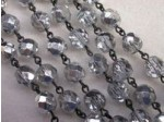 Czech Linked Rosary Chain, 8mm Clear Silver Coated Faceted Beads, Black Linked Chain, (Sold by the Meter)