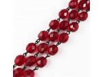 Czech Linked Rosary Chain, 8mm Garnet Fire Polished Beads, Black Linked Chain, (Sold by the Meter)